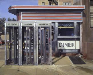 Estes' Diner, a painting of a diner with three telephone booths in front of it.