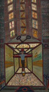 Fasanella's Iceman Crucified, a painting of a man being crucified inside of a room.