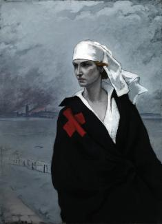 Romaine Brooks' La France Croisée is a painting of a woman in the foreground with a red X over her right shoulder.