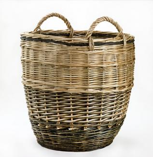 A tall circular basket with two small handles.