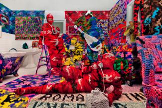 Olek's Knitting is for Pus**** made from mixed media for 40 Under 40 at the Renwick Gallery.