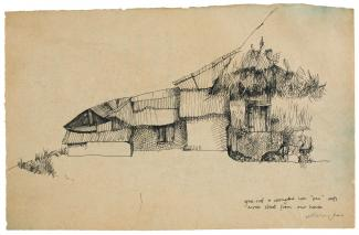 Puryear's Untitled, a drawing of a residence sketched with pen and black ink.