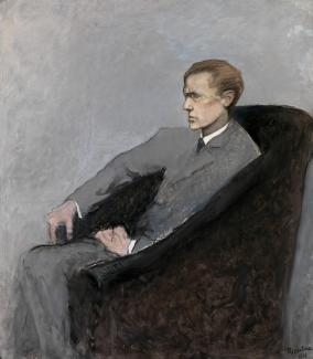 Romaine Brooks' Le Duc Uberto Strozzi is a painting of a man wearing a grey suit seated in a chair.
