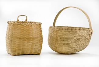 Two baskets, one that's square on the bottom with a circular top and one that's a half circle shape with a handle.