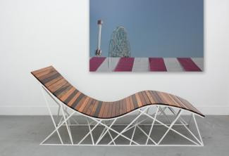 Uhuru's Cyclone Lounger made from reclaimed boardwalk and a steel base for 40 Under 40 at the Renwick Gallery.