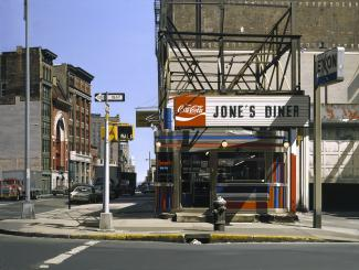 Estes' Jone's Diner, a painting of a diner in the middle of a city block.