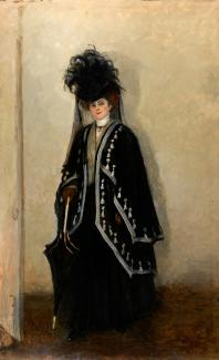 Romaine Brooks' Madame Errazuris is a painting of a woman posed with an umbrella.