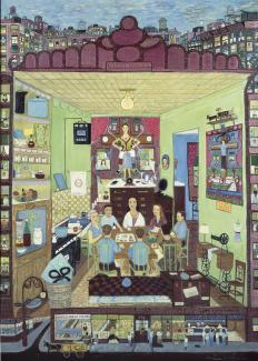Fasanella's Family Supper, a painting of the interior of a kitchen with a family around a table.