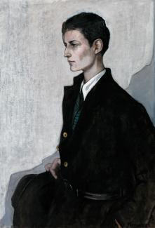 Romaine Brooks' Peter (A Young English Girl) is a painting of a figure dressed in mostly black looking outside the frame of the portrait.