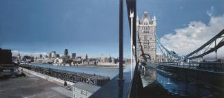 Estes' Tower Bridge, London, a painting of the bridge in London with the city in the background.
