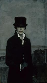 Romaine Brooks'Self-Portrait is a self portrait of the artist wearing a top hat, black jacket and black gloves.
