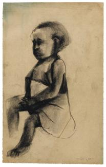 Puryear's Untitled, a drawing of a girl made from charcoal on paper.