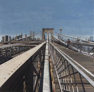 Estes' Brooklyn Bridge, a painting from the Brooklyn bridge with the city in the background.