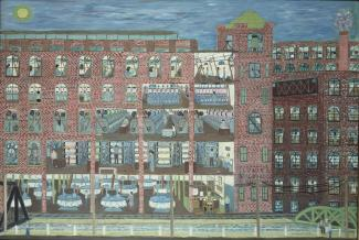 Fasanella's Mill Worker is a painting depicting the inside of a factory building.