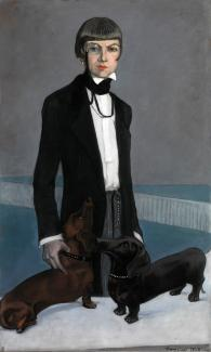 Romaine Brooks'Una, Lady Troubridge is a portrait of a woman posed with her two dogs.