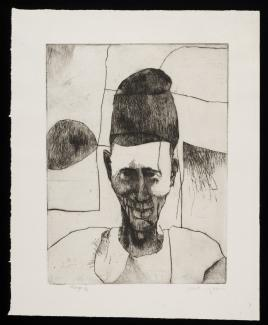 Puryear's Gbago, a drypoint on paper of a man.