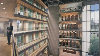 Estes' Portrait of I. M. Pei, a painting of Pei standing inside of a building with an interior opening displaying six floors.