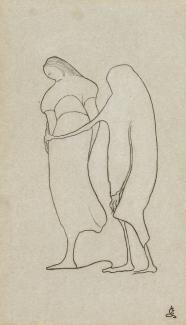 Romaine Brooks' Death and the Peasant (La Mort et la Paysanne) is a contour line drawing done with pencil of two figures.