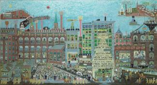 Fasanella's The Great Strike: Lawrence 1912 is a painting of people striking from their jobs in the city.