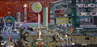 Fasanella's Modern Times, a painting showing the inside of a building as well as things happening outside.