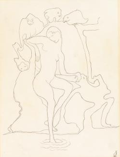 Romaine Brooks'Lethe is a contour drawing done in pencil of a figure dipping its foot in liquid with animals in the background.
