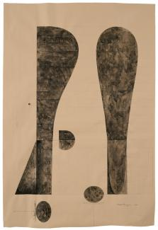 Puryear's Untitled, Drawing for Bearing Witness made from gray wash and graphite on wove paper.
