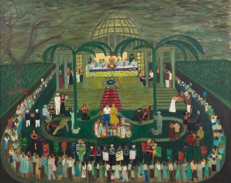 Fasanella's McCarthy Era Garden Party, a painting of a gathering of people around a gated garden party.