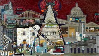 Fasanella's McCarthy Press, a painting with buildings and people in a cityscape.
