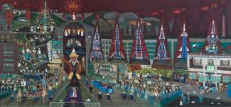 Fasanella's American Tragedy, a painting of JFK's presidential parade in Dallas.