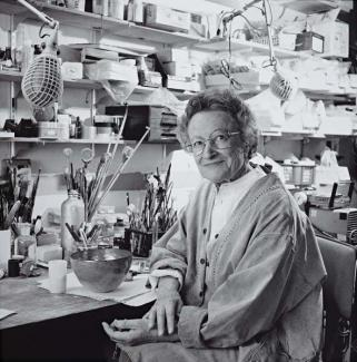 June Schwarcz in her studio