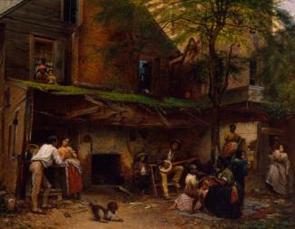 Eastman Johnson's painting of a house with people outside doing various activities.
