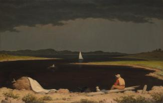 Heade's oil on canvas of a lake with a storm approaching and a man in the foreground, the lake in the middle ground, and a sailboat in the background.