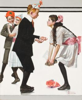 Rockwell's oil on canvas of four children dancing at a party where the boy stepped on the girls toes.