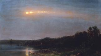 Church's oil on canvas of a meteor in the sky over a wooded area with a body of water.