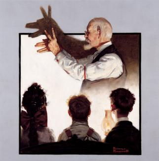 Rockwell's oil on canvas of a man creating shadow puppets with children watching.