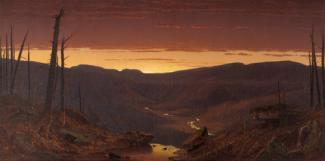 Gifford's oil on canvas of the sun setting in the catskills with trees in the foreground, the valley in the middle ground and the sunset over the mountains in the background.