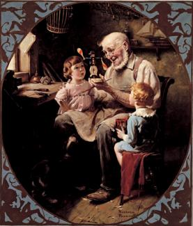 Rockwell's oil on canvas of a toy maker with two children on his lap watching.