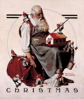 Rockwell's oil on canvas of Santa creating a model house with elves.