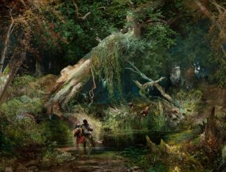 Moran's oil on canvas of a swamp area covered in greenery with trees and two figures crossing the water.