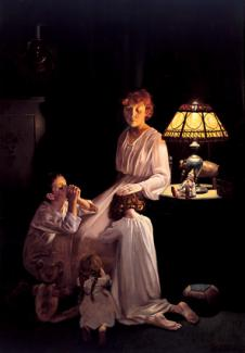 Rockwell's oil on canvas of a lady sitting next to a lamp with her three children sitting by her side.
