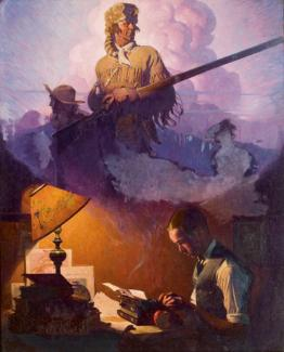 Rockwell's oil on canvas of a man on a typewriter and coming from the page is an image of Daniel Boone.