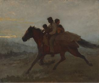 Johnson's oil on board of a family riding a horse with the woman looking behind as the man looks forward.
