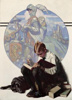 Rockwell's oil on canvas of a boy reading a big book with his imagination of the story behind him.