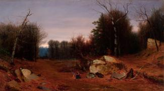 McEntee's oil on canvas of a landscape with rocks in the foreground, trees in the middle ground and the woods in the background.