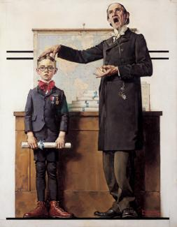 Rockwell's oil on canvas of a boy in a classroom with a diploma and his teacher saying something and putting his hand on the boy's head.
