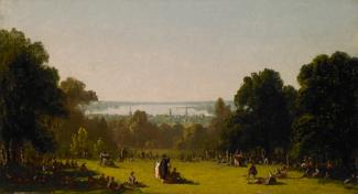 Gifford's oil on canvas of people praying on a grassy area surrounded by trees.