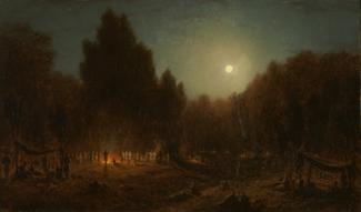 Gifford's oil on canvas of a night scene with a fire in the middle ground and the moon shining in the background.