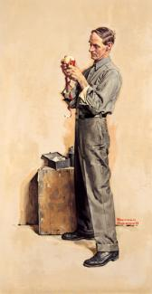 Rockwell's oil on canvas of a man peeling an apple.