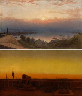 Two of Gifford's paintings. The first one has a figure in the foreground, boats in the middle ground, and water in the background. The second painting has a canon in the foreground, a figure in the middle ground and the sunset in the background.