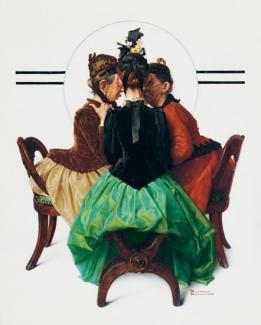 Rockwell's oil on canvas of three ladies gossiping while sitting in chairs.